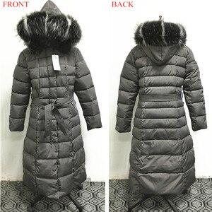 Image 5 - Fashion Winter Jacket Women Big Fur Belt Hooded Thick Down Parkas X Long Female Jacket Coat Slim Warm Winter Outwear