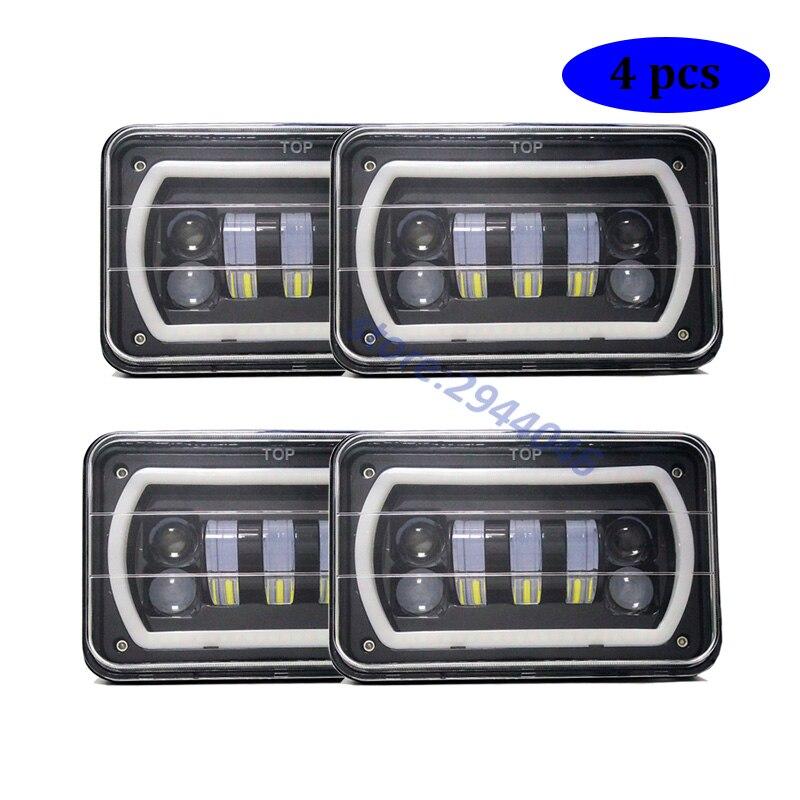 2 Pair 4X6 Inch LED Rectangular Headlights For HID H4656 H4666 H6545 Peterbilt Freightliner Kenworth 4