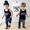 Boys Clothing Sets Cotton Sleeveless Letter Kids Clothes Boys Shirt + Kids Pants Print Summer Boys Clothes Vest Kid T Shirts