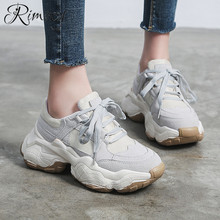 Rimocy 2019 spring casual shoes woman lace up round toe vulcanize shoes platform sneakers student 5cm bottom comfortable flats