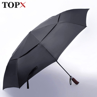 2017 New Style Double Layer Large Honorable Automatic Umbrella Men Creative Solid Wood Handle Business Fashion