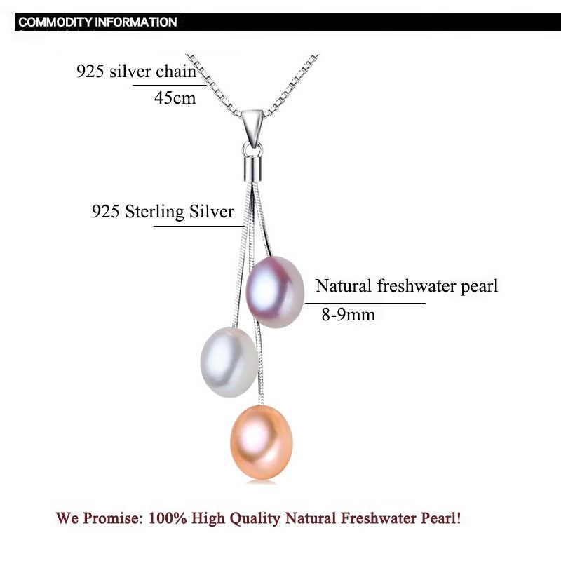 ZHBORUINI 2019 ファッション真珠ネックレス真珠ジュエリーマルチカラーの天然真珠のペンダント 925 スターリングシルバー女性のギフトのため