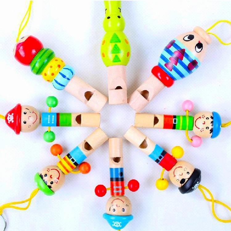 1 Pc Kleinkind Spielzeug Cartoon Holz Pfeife Bunte Mini Musical Instruments Entwicklungs Musik Spielzeug Für Baby