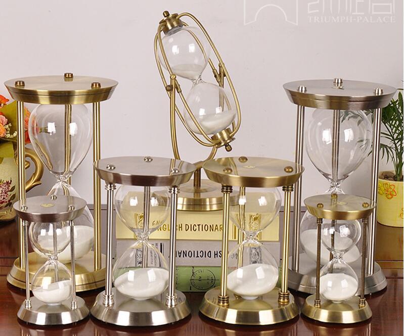 Rétro De Luxe En Métal Placage Sablier ampulheta 15/30/60 Minutes Verre de Sable horloge pour Cuisine Bureau Décoration École bateau libre