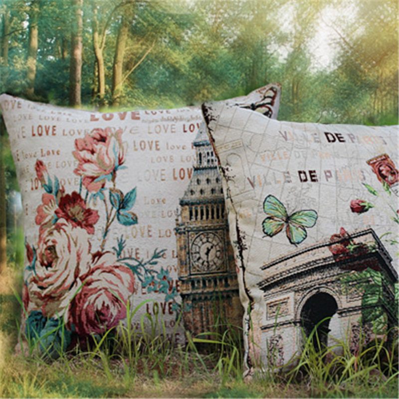 Removable Washable Paris American Vintage Style Sofa Cushion Covers for Seat Pillow Cases Wholesale Promotion Home Decoration