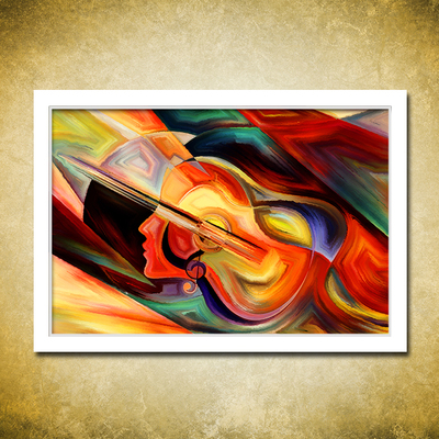Painting By Numbers Art Paint By Number Abstract Guitar Woman Musical Instrument Own Fill Color Number Oil Painting Digital Diy