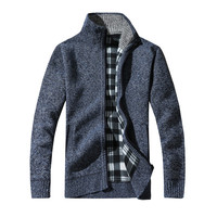 New Style Men Male Knitting Sweater Cotton Stand Zipper Stand Warm Winter Thick Coat Jacket Sweater