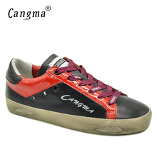 CANGMA New Brand Fashion Shoes Women Sneakers Retro Black Casual Shoes Genuine Leather Flats Female Comfort Woman Bass Footwear