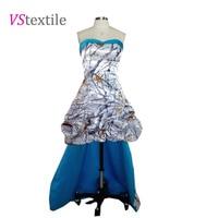 Free Shipping Snow White Camo Prom Dress High Low Vestido De Festa Longo Camouflage Party Dresses