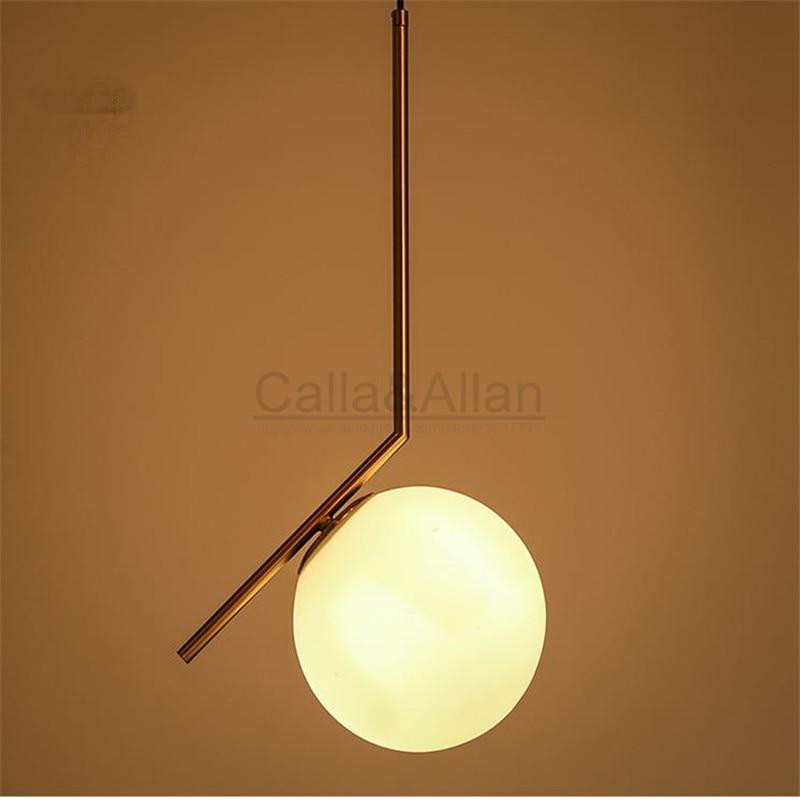 Brass brush metal hanging light fixture with white glass shade pendant lamp LED bulb lighting 110V/220V for home decoration