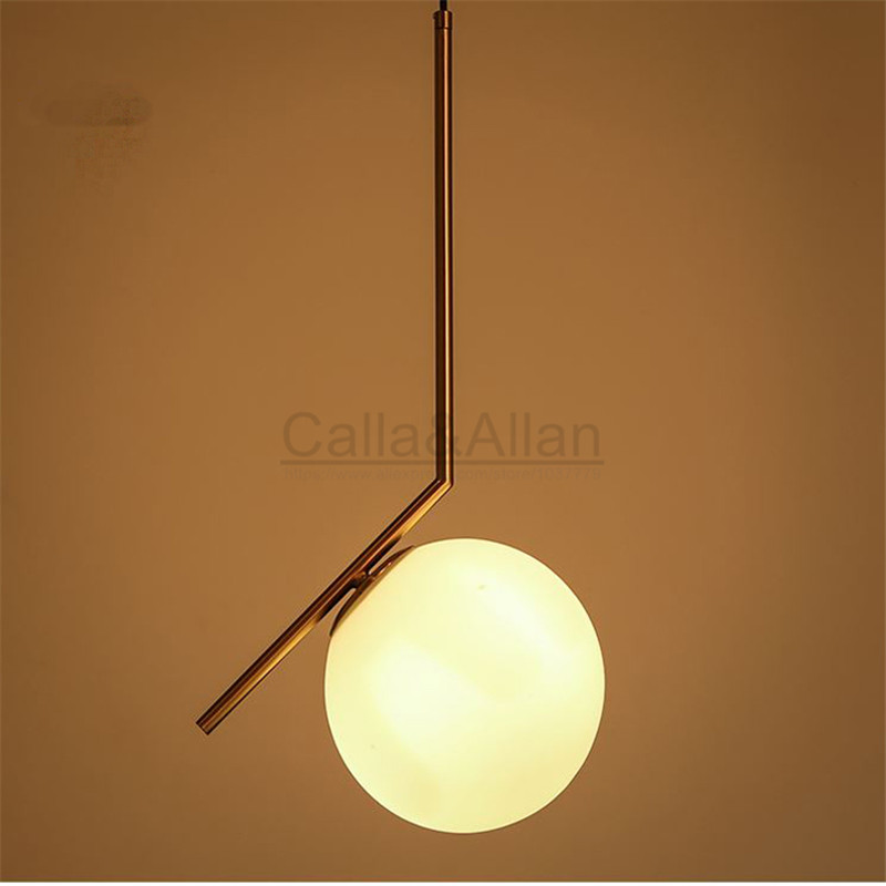 Brass brush metal hanging light fixture with white glass shade pendant lamp LED bulb lighting 110V/220V for home decoration