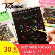 Рисование бумага DIY живопись развивающие игрушки для детей Новые забавные Рисование царапинам детей Рождество красочные черны