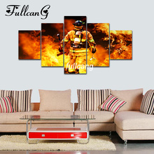 FULLCANG Firemen Diy 5pcs Diamond Painting Cross Stitch Embroidery Portrait 5D Square Mosaic F548