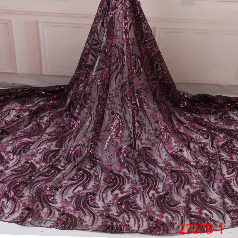 Purple African Lace Fabric 2019,High Quality Nigerian Lace Fabrics With Sequins, Embroidery French Tulle Beaded Lace KS2727B-1