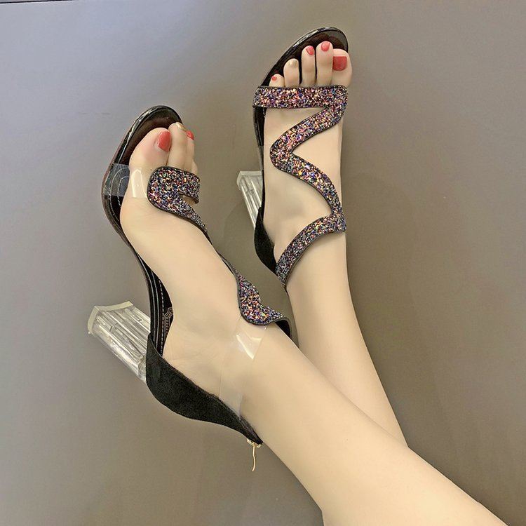 High-Heels Sandals Basic-Cover Fashion Shoes Leisure Casual Women Summer Zip for Party