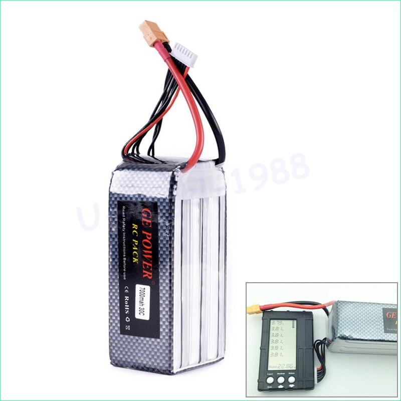 Haute qualité GE puissance 22.2 v 7000 MAH 30C 6 S lipo batterie T plug XT60 prise pour RC quadrirotor mise à niveau batterie
