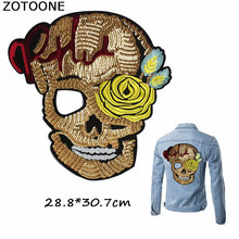 ZOTOONE Gold Sugar Skull Sequin Large Patches for Clothing DIY Punk Flower Sew on Embroidery Jackets Applique Badge