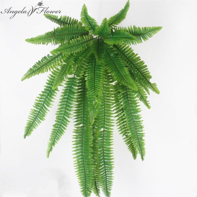 simulation flower adornment grass green plant pot plants hanging row grass fern leaf persian