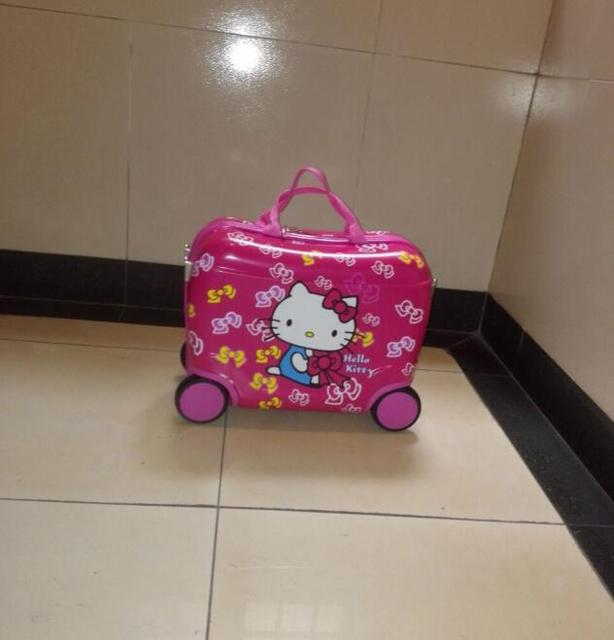 New  fashion luggage children hello kitty suitcase cartoon animation  luggage with rolls  ,  EVA  travel suitcase wheel