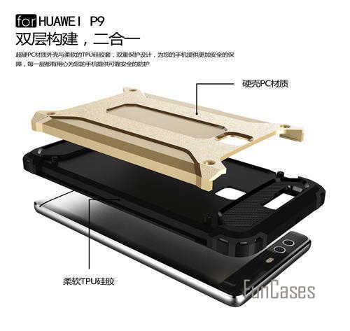 Hybrid Custodia In Silicone per Huawei Ascend P9 Cassa Dura del PC Slim Armatura Anti-Shock per il Caso di Huawei P9 Caso 5.2 pollice
