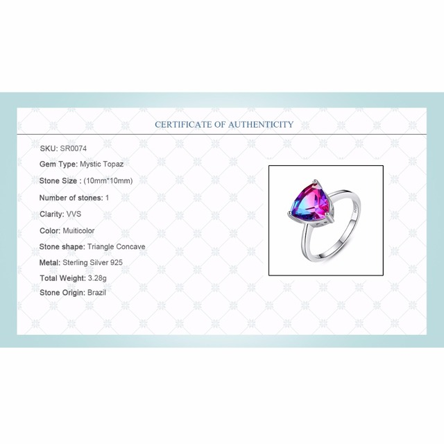 CZCITY Natura di trasporto Arcobaleno Fuoco Mystic Topaz Anelli di Barretta per Le Donne Anniversario Donne 925 Sterling Silver Wedding Anello Femminile 2018