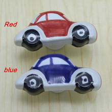 creative Cartoon small car drawer shoe cabinet knobs pulls red blue car children room furniture knobs pulls handles
