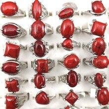Bague en pierre Semi précieuse rouge mixte pour femmes, bijoux à la mode, vente en gros, 50pcs