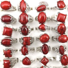 Mixed Size Red Semi precious Stone Rings For Women Fashion Jewelry 50pcs Wholesale