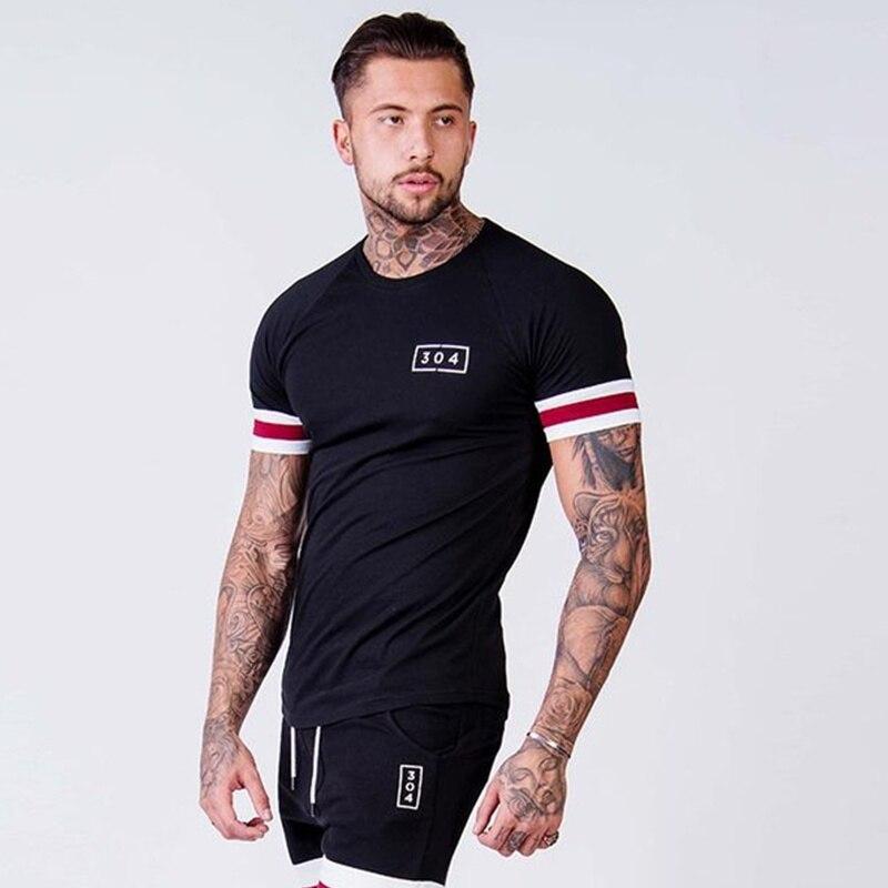 Мужская хлопковая футболка с коротким рукавом, летняя Приталенная футболка для тренажерного зала, брендовая черная футболка, модная повседневная одежда для мальчиков