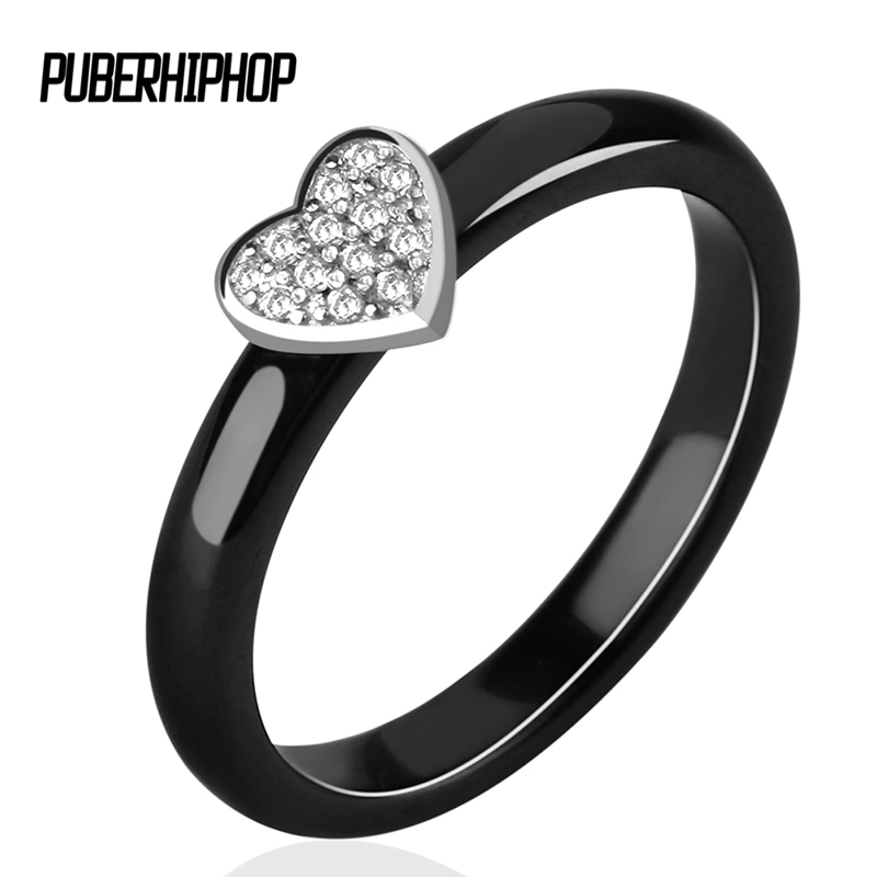 3MM Width Silver Heart Rings For Women White Crystal Lovely Heart Ceramic Rings With CZ Rhinestone Rings Mother Gift Jewelry big crystal rings black white smooth ceramic rings with bling big transparent rhinestone women fashion jewelry rings for women