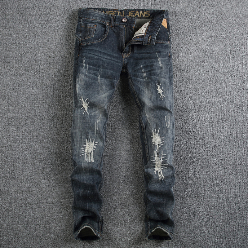 European American High Street Fashion Men Jeans Slim Fit Dark Color Denim Mid Stripe Jeans Mens Pants Brand Casual Ripped Jeans classic mid stripe men s buttons jeans ripped slim fit denim pants male high quality vintage brand clothing moto jeans men rl617