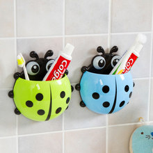 1PC Ladybug Toy Toothbrush Holder Toothpaste Holder Bath Toy Sets Tooth Brush Container Ladybird Toys For Children Kids Gifts(China)