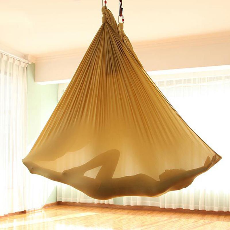 Flying Anti-Gravity Yoga Hammock Whole Set Fitness Equipment Studio Aerial Hammocks Nylon Mesh Stretch Belt Lock Yoga Rope