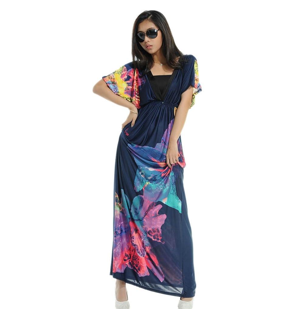 acf2aff2f8 2018 nuevas mujeres del diseñador más tamaño 6XL Vestidos femenino verano  vestido V cuello longitud de