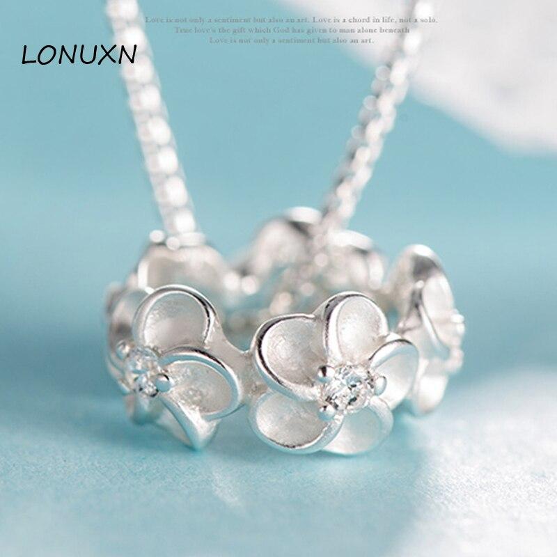 925 argent collier pendentif fleurs creux accessoires simple coréen cercle haute qualité femme bijoux longue chaîne amoureux cadeau