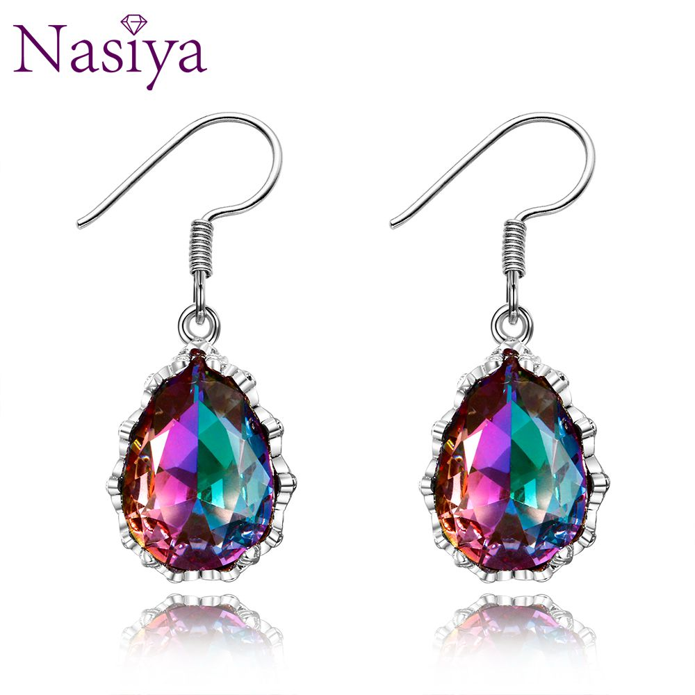 Earings Fashion Jewelry 100% 925 Sterling Silver Rainbow Topaz Water Drop Earrings For Women Christmas New Year Party Gifts Hot