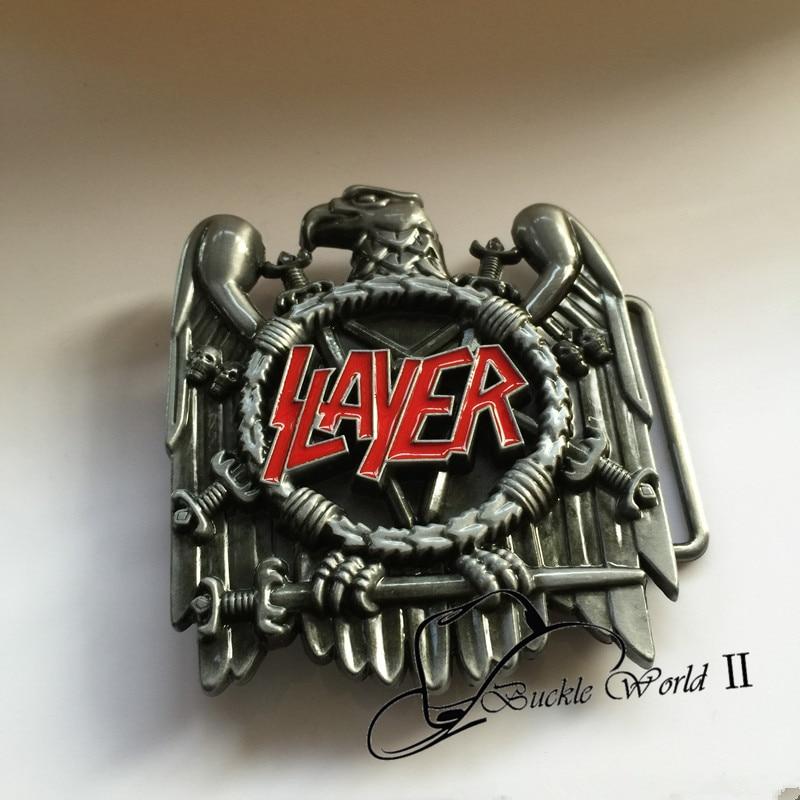 b6f3aa648f1 Détail Nouveau Style 3D Argent Aigle Slayer Rock Musique Ceinture Boucle  avec 73 84mm 91.3g Métal Cowboy Ceinture Tête Fit 4 cm Wideth Ceinture dans  Boucles ...
