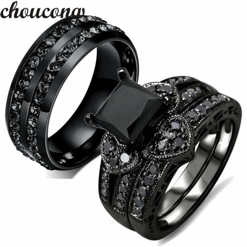 Choucong модное кольцо для женщин и мужчин AAA Циркон Cz Кристалл нержавеющая сталь для влюбленных вечерние обручальное кольцо Черное золото цвет