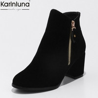 KARINLUNA 2018 Dropship Large Sizes 33 43 Trendy Ankle Boots Women Shoes Woman High Heels Shoes Female Fashion Booties