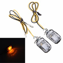 2pcs 12V Universal Motorcycle Mini Turn Signal Light 6LED Amber Blinker Indicator Lamp 6mm Mounting Bolt 26 x 17 x 18mm