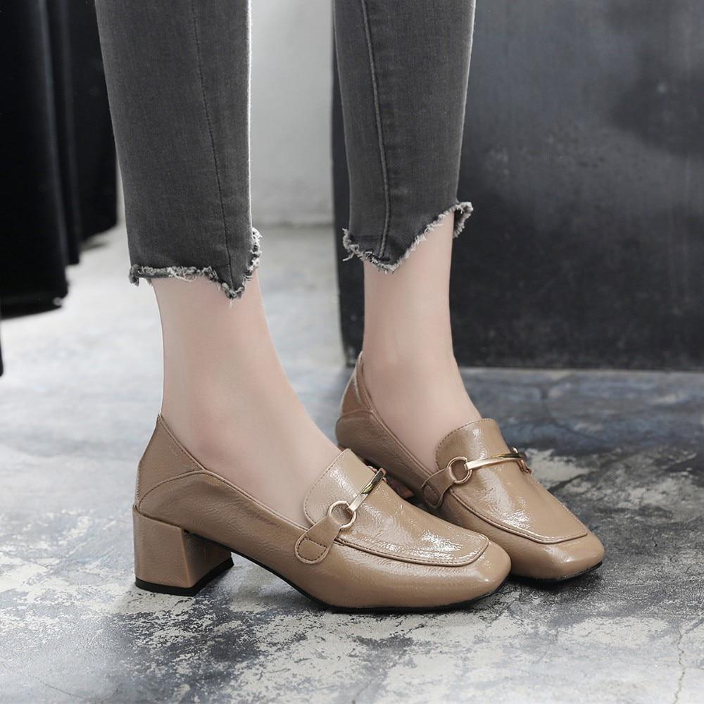 Talons hauts chaussures femmes pompes boucle automne unique robe chaussures printemps talons épais bout carré femelle pompes taille 33-43