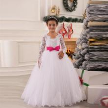Long Sleeves Flower Girl Dresses A Line V Neck First Communion Dress Baby Princess Appliques Beaded Kids Wedding Party Dress