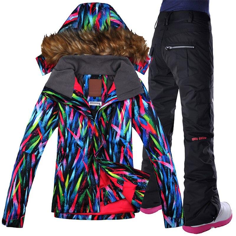 GSOU NEIGE 2017 Ski costume Femmes costumes imperméable à l'eau en plein air vestes épaissie double plaque unique de ski de la fourrure costume Veste + Pantalon ski costume