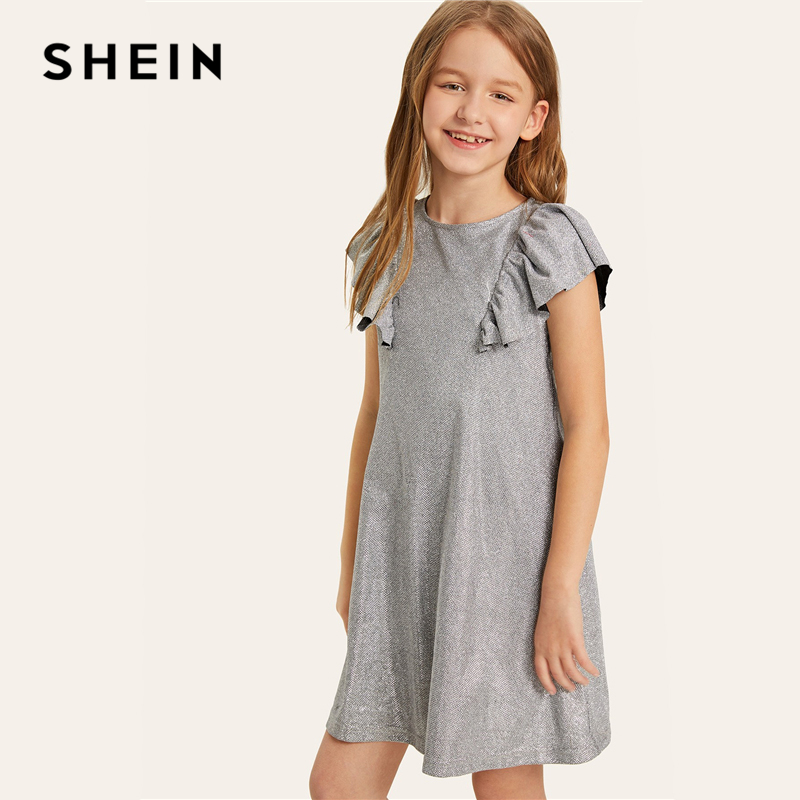 SHEIN Kiddie Silver Keyhole Back Ruffle Trim Glitter Elegant Girls Short Dress Kids Clothing 2019 Summer Shift Casual Dresses plus knot open back ruffle trim bodysuit