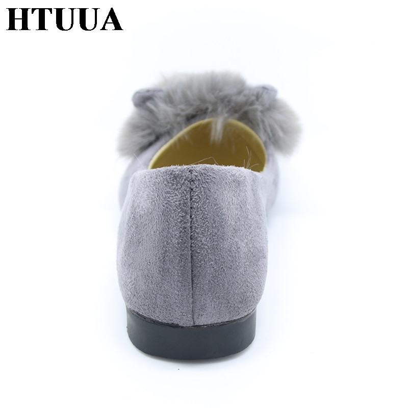 33bccd54f HTUUA Autumn Fashion Cute Rabbit Ears Plush Fur Flat Shoes Women Flats  Black Grey Army Green ladies casual Slip On Shoes SX483-in Women's Flats  from Shoes ...