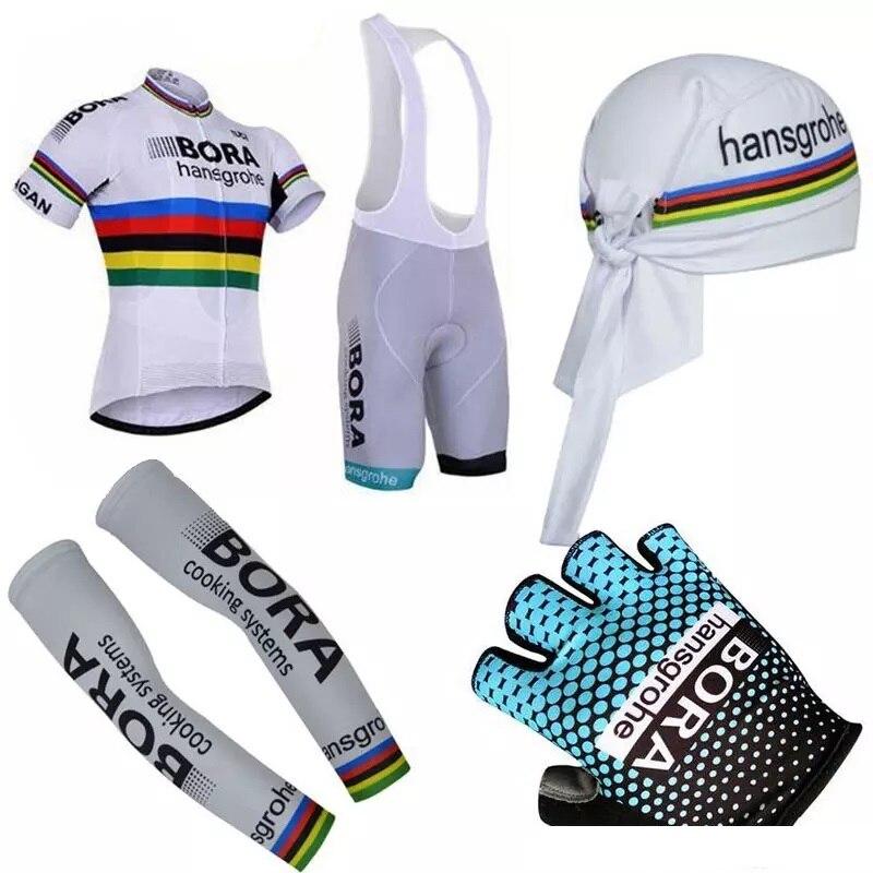 Nouveau été unisexe complet cyclisme ensembles manches courtes maillots ensemble avec vélo bandeau bras gants vêtements de vélo vtt équitation body