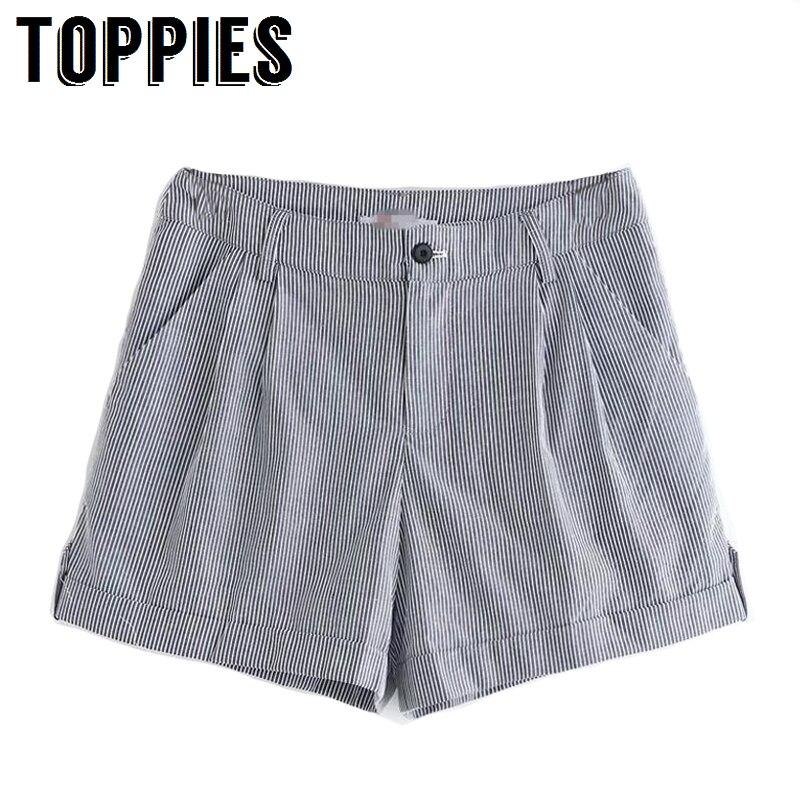 2019 Summer Women Striped Bermuda   Shorts   Korean Fashion Leisure Bottom High Waist Hot   Shorts   Button Fly