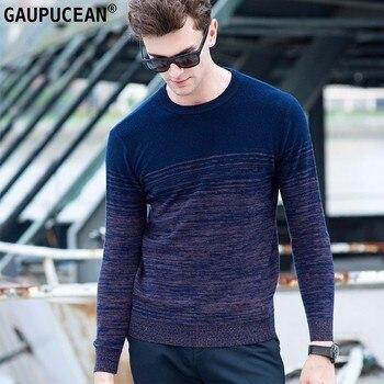 100% Pure Wool Men Sweater Striped Gradient Winter Knitting Blue Male Pullover O-Neck Casual Long Sleeve Woolen Man Sweaters