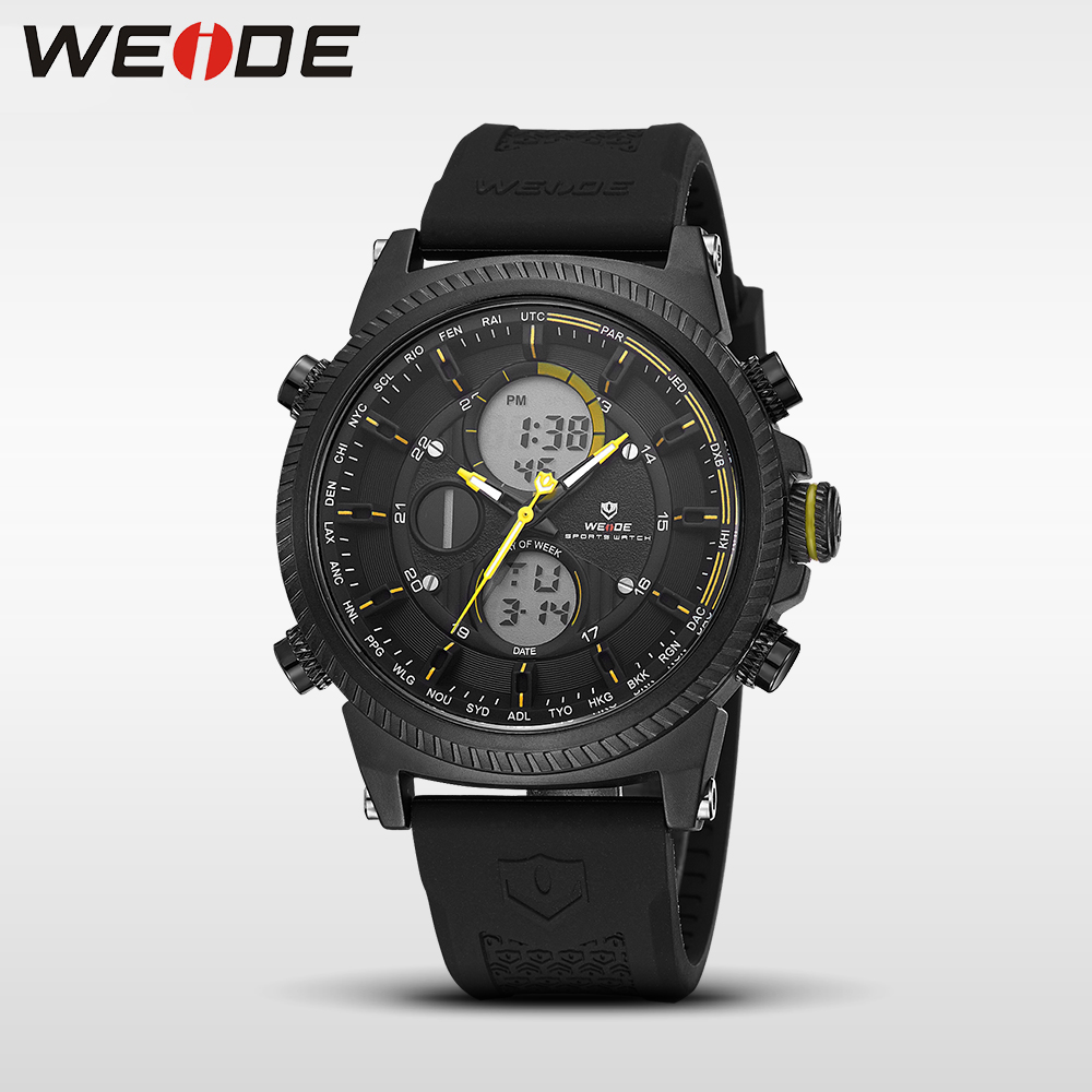 WEIDE Genuine luxury Brand Military Watch sport digital Automatic LCD watches silicon watch quartz Analog Water Resistant Clock weide wh 3401 double movt analog digital military quartz watch water resistant for sports