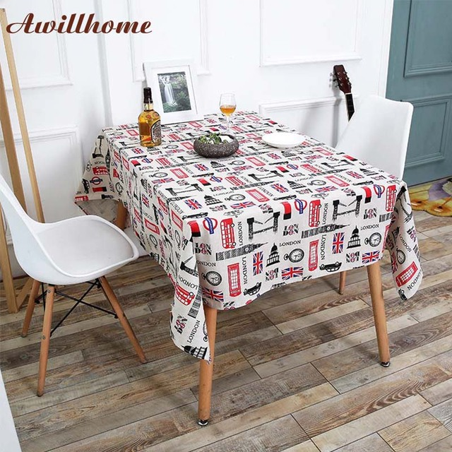 Awillhome White Tablecloths Home Rectangle Tablecloths Pastoral Flag Linen  Dining Table Cloth Factory Party Table Covers